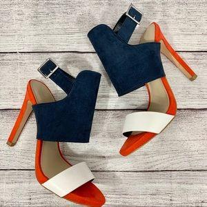 Zara Trafaluc Tri-Color Ankle Strap heels